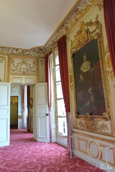 左の部屋での食事の前に、ナポレオンの肖像の前で立食です。