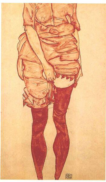 Egon Schiele - Stehende Frau in Rot - 1913