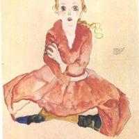 Schiele - Sitzendes Mädchen -1911