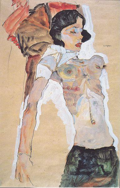 Egon Schiele - Liegendes, halbbekleidetes Mädchen - 1911 - Wikimedia