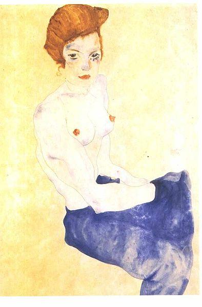 Schiele - Sitzendes Mädchen - 1917