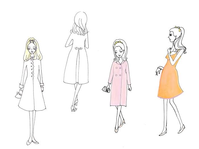 シェルブールの雨傘 衣装スケッチ - Geneviève