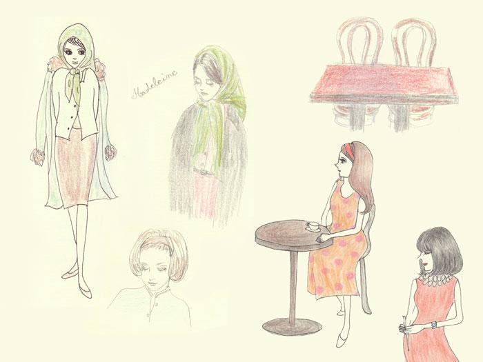 シェルブールの雨傘 衣装スケッチ - Madeleine,カフェ