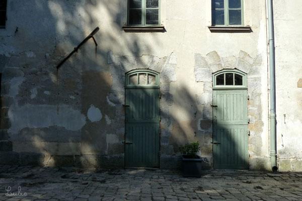 淡くてきれいな色のドアと壁に木の影が。風で揺れています。気持ちいい♪
