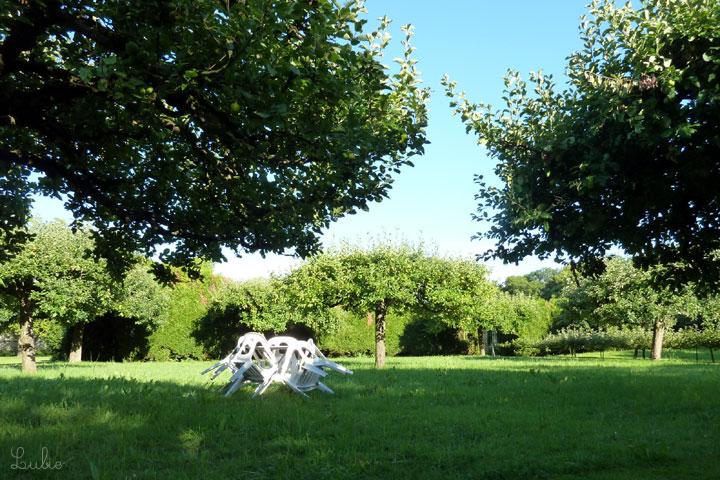 パリ地方は夏の夕方、一日で一番気温が上がります。日陰になった芝生の上でのんびり休憩。
