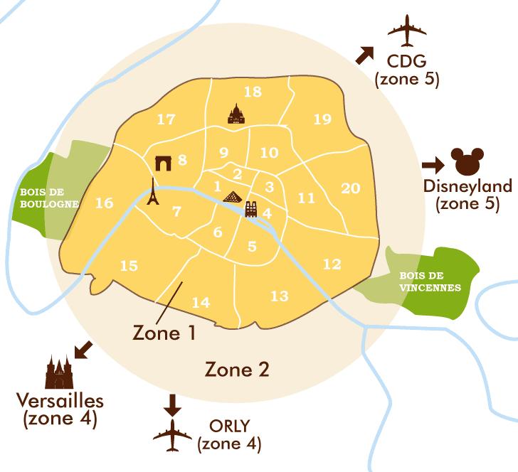 パリの20区&電車バスのZone区分マップ
